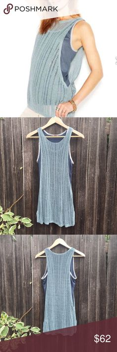 🌊NEW Free People linen layered tunic🌊 Crochet linen sleeveless tunic in a beautiful seafoam green color by Free People. Has an attached misty blue tank top underneath. Brand new, never worn but I removed the tags and hand washed it once. 😊 Free People Tops Tunics
