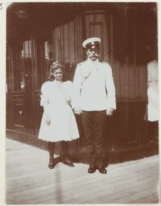 Grand Duchess Maria Nikolaevns Romanova of Russia with her father,Tsar Nicholas ll of Russia onboard the Standart in 1909.A♥W