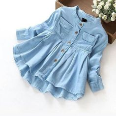 New Spring 2016 Girls blouses&Shirts denim Baby Girl Clothes Casual Soft Fabric Children Clothing Kids girls blouse Shirt Kids Outfits, Casual Outfits, Cute Outfits, Fashion Outfits, Style Fashion, Fashion Fabric, Denim Fashion, Fashion Clothes, Fashion Hacks
