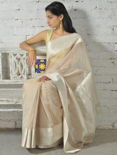 Beige-Silver Zari Cotton Silk Saree