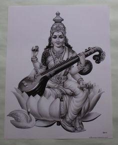 Vintage Hindu Beautiful Black & White Print God Saraswati Sitting On Lotus