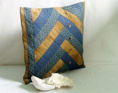 Cubierta de la almohadilla de 15 x 15 azul y marrón, acolchado Patchwork decorar la funda de almohada, funda de almohada de acento, Upcycled reutilizar la funda de almohada de tela