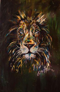 Dona Morgan : Soul of a lion, 16x24 canvas, Acrylic paint::