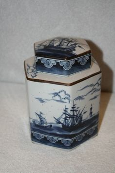 "Sadek porcelain hexagon shape vase with lid. Measures approx: 6.5"" x 4.5"". Sticker on bottom: Andrea by Sadek. MINT $20 Vases For Sale, Hexagon Shape, Decorative Boxes, Porcelain, Mint, Sticker, Shapes, Inspiration, Home Decor"