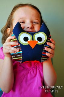 fun stuffed owl - great project for kids and scraps