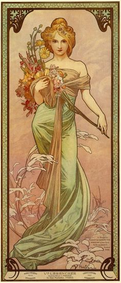 1900 The Seasons 'Spring' lithograph 73 x 32 cm © Alphonse Mucha Estate/Artists Rights Society (ARS), New York/ADAGP, Paris
