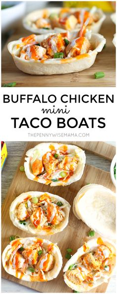 Slow Cooker Buffalo Chicken Mini Taco Boats - perfect appetizer for Game Day! #oepgameday