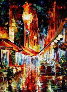 """Brussels, before the night starts — PALETTE KNIFE1 Oil Painting On Canvas By Leonid Afremov - Size 40"""" x 30"""""""