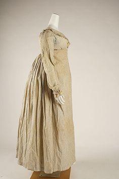 Morning dress Date: ca. 1820 Culture: British Medium: cotton Dimensions: Length at CB: 46 in. (116.8 cm)