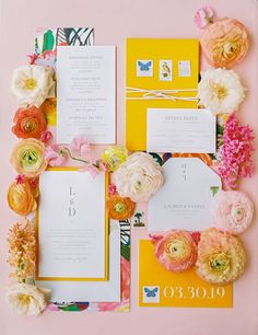 These bright yellow and pink wedding invitations are fun and bubbly - they are perfect to show your spring and summer wedding vibes. Click to see more wedding inspiration from this colorful destination backyard wedding on an island. #Wedding #BackyardWedding #DestinationWedding #WeddingInspiration #WeddingIdeas #ColorfulWeddingPalettes #Weddings | Martha Stewart Weddings