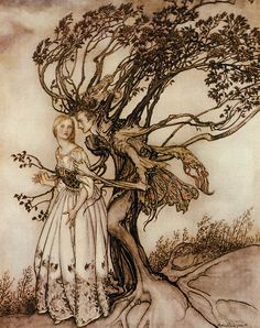 """""""The Old Woman in the Wood,"""" an illustration by Arthur Rackham, story from the collection by the Brothers Grimm."""