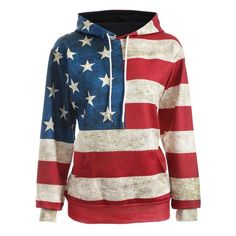 American Flag Print Pullover Hoodie, BLUE/RED, XL in Sweatshirts & Hoodies | DressLily.com
