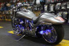 Custom LED Lighting and Halos added to spruce up this 2010 Suzuki Boulevard.  #led  #motorcycle #Suzuki #ledlights #suzukiboulevard #hotbikes