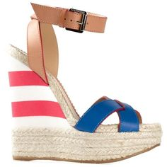 Dsquared2 striped wedge sandals (2.980 VEF) ❤ liked on Polyvore featuring shoes, sandals, wedges, heels, lullabies, blue, high heel sandals, leather sandals, wedge sandals and ankle strap high heel sandals