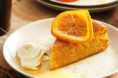 This moist orange cake drenched in sweet orange syrup is a delicious autumn dessert. Almond flour
