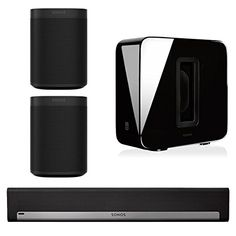 Sonos Surround Set - Home Theater System with Playbar, Sub and 2 Sonos Ones (Black) Sonos Wireless, Sonos Play 1, Home Audio Speakers, Sonos Speakers, Bose Lifestyle, Surround Sound Systems, Audio Sound, Home Theater