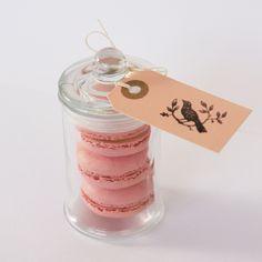 pink macarons in a jar