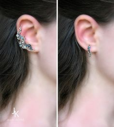 Silver wire wrapped ser of ear cuff and stud Star river by JewelryJS (Julia Kotré)