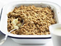 24 sweet fruit crumble recipes including apple, rhubarb, raspberry and pear, plus the oats and sugar topping recipe Plum And Apple Crumble, Blueberry Crumble Cake, Raspberry Crumble, Fruit Crumble, Rhubarb Crumble, Cooked Apples, Apple Recipes, Weekly Recipes