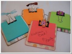 These cute little sticky note clipboards made out of coasters, scrapbook paper and binder clips! Great for teacher gifts by Elize Lourens