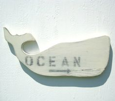 ocean decor whale country white nautical wood wall art via Etsy