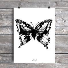 Plakat z autorską grafiką: Motyl