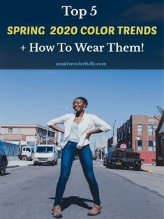 Top NYC fashion blogger, AmaLiveColorfully, features the Top 5 2020 Spring Color Trends and How to Wear Them.// popular spring Pantone colors 2020, heritage blue, skinny jeans and white blazer spring outfit Urban Fashion Trends, Nyc Fashion, Colourful Outfits, Colorful Fashion, Clothing Blogs, Blogger Girl, Spring Looks, Fashion Tips For Women, Color Trends