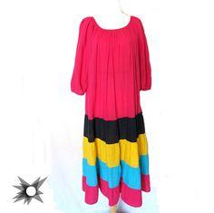 Vintage 1980's Gauzy Color Block Striped Ruffle Spanish Style Dress Size Small/Medium by SatelliteVintageCo on Etsy