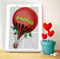 Le Pilote Hot Air Balloon Print   Balloon by DottyDictionary