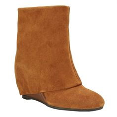 French Connection Rafaela Suede Foldover Wedge Bootie | from Von Maur #VonMaur #Boots #Shoes #Brown