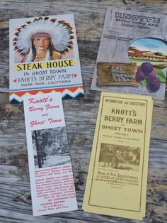Knotts Berry Farm Ghost Town Steak House Menu Buena Park California Sun Fun Treasures Los Angeles Vintage 1960's Holiday Paper Collectibles