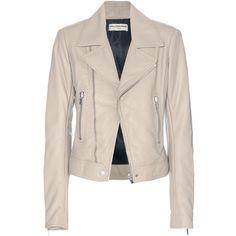Balenciaga Leather Biker Jacket (9.170 BRL) ❤ liked on Polyvore featuring outerwear, jackets, balenciaga, coats, leather jackets, beige, pink jacket, pink motorcycle jacket, genuine leather biker jacket and moto jackets