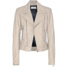 Balenciaga Leather Biker Jacket ($2,775) ❤ liked on Polyvore featuring outerwear, jackets, blazers, coats, leather jackets, beige, pink blazer, biker jacket, leather blazer and leather moto jacket
