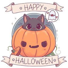 Animaux Manga Animaux manga+#Animaux #manga Kawaii Halloween, Manga Halloween, Halloween Art, Happy Halloween, Halloween Decorations, Cute Halloween Drawings, Halloween 2019, Halloween Illustration, Kawaii Illustration