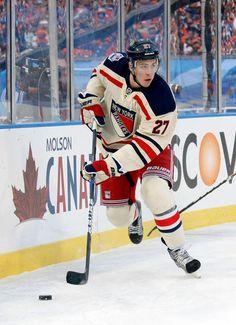 New York Rangers 2012 Winter Classic uniform (player is former Minnesota Mr. Hockey, Ryan McDonagh)