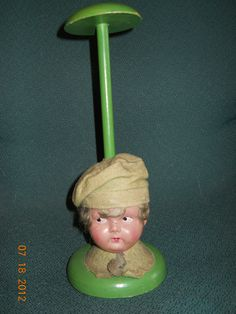 RARE GERMAN BOUDOIR DOLL LITTLE BOY CELLULOID HEAD HAT STAND WITH GREEN BERET | eBay