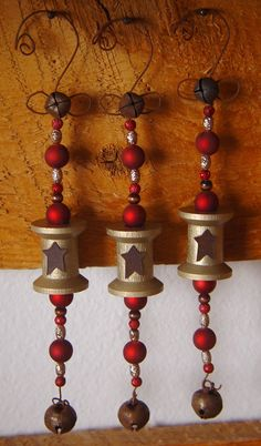 Vintage Spool Ornaments in Metallic Gold & Red (Set of 3). $38.00, via Etsy.