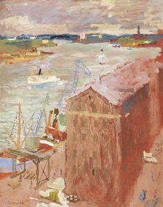"""""""Tullhuset"""" - Utsikt över Stadsgården, Stockholm. Signerad Grünewald. Olja på pannå, 92 x 74 cm."""