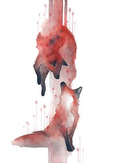 Image shared by Choa Sapo. Find images and videos about art, drawing and animals on We Heart It - the app to get lost in what you love. Love Illustration, Watercolor Illustration, Watercolor Art, Animal Drawings, Art Drawings, Fox Drawing, Fox Art, Watercolor Animals, Cute Cartoon Wallpapers