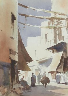 Edward Seago R.W.S. (1910 — 1974, UK) Arab street scene.  watercolour. 37 x 26.5 cm. (14 9/16 x 10 7/16 in).