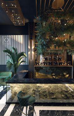 Art Deco Restaurant, reception and bar on Behance Deco Restaurant, Luxury Restaurant, Modern Restaurant, Restaurant Counter, Modern Cafe, Restaurant Ideas, Bar Interior Design, Restaurant Interior Design, Cafe Design