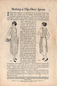 """From """"Making a Slip-Over Apron"""" booklet, by Woman's Institute of Domestic Arts and Sciences, Inc. Vintage Apron Pattern, Aprons Vintage, Vintage Sewing Patterns, Clothing Patterns, Apron Patterns, Retro Apron, Dress Patterns, Sewing Hacks, Sewing Crafts"""