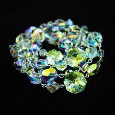 Swarovski crystals. Crystal AB. Amazlingly  sparkling bracelet, beautfiful reflections.