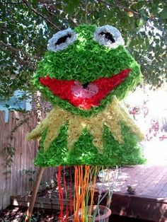 Movie Party Decoration - Kermit Pinata Template - Southern Outdoor Cinema expert tip for theming and enhancing an outdoor movie event.