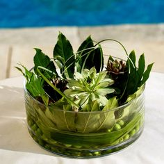 """Susan requested centerpieces composed entirely of succulents and grasses rather than flowers, for a natural organic feel. """"I wanted plants that could be replanted after the wedding,"""" Susan says. Grass Centerpiece, Green Centerpieces, Wedding Reception Decorations, Wedding Centerpieces, Wedding Ideas, Wedding Decor, Centrepieces, Wedding Bells, Wedding Ceremony"""