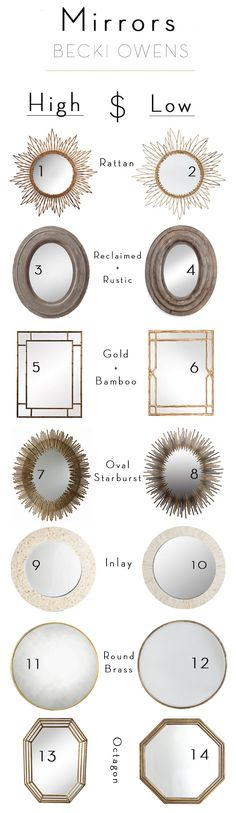 Save and splurge mirrors from Becki Owens