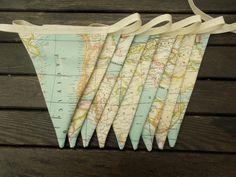 map fabric bunting - map decor -  world map decor - world map bunting - map bunting - travel bunting - globe bunting - atlas bunting by chezlele on Etsy https://www.etsy.com/listing/188621900/map-fabric-bunting-map-decor-world-map