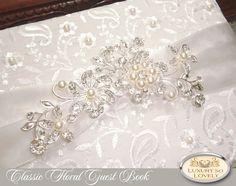 White Wedding Guest Book Pearl Elegant Clic Ivory Formal Fl Luxury