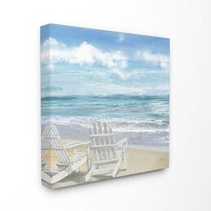 """The Stupell Home Decor Collection 17 in. x 17 in. """"White Adirondack Chairs on the Beach Painting""""by Artist Main Line Art & Design Canvas Wall Art - The Home Depot Beach Canvas Art, Canvas Wall Art, Canvas Prints, Canvas Canvas, Canvas Size, Coastal Wall Decor, Beach Wall Decor, Silver Wall Art, Wood Wall Art"""