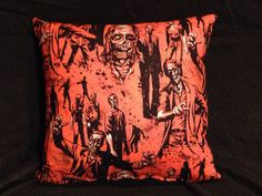 Walking Dead Zombie Pillows  Orange and Black  by WickedCrusade